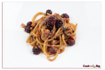 Fresh Pasta with Blackberries, Vegetables and Black Garlic