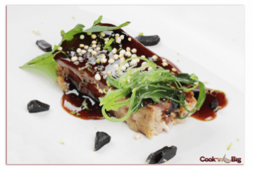 Red Tuna Tataki with Black Garlic and Teriyaki Sauce