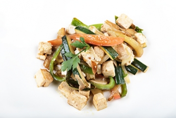 Sautéed Tofu  With Spring White Garlic